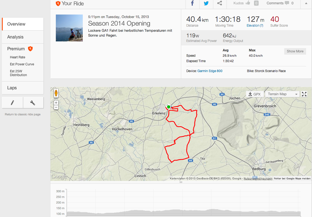 Neues Layout bei Strava (Screenshot)